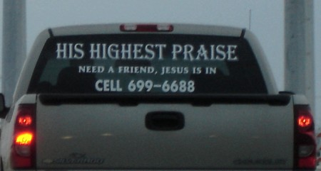 Jesus drives a Chevy Silverado pickup